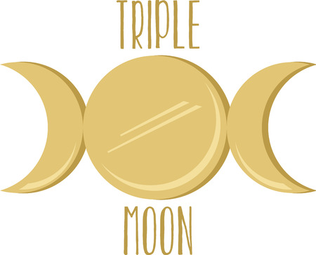 Representing maiden, mother, and crone, this beautiful triple moon design celebrates three aspects of the goddess within.  This is a perfect design for indoor projects! Illusztráció