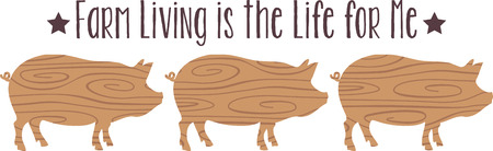 porker: Farm animals are an enduring theme with the young and young at heart.  Create unique gifts for loved ones with this design on t-shirts, sweatshirts, totes, wall hangings and more! Illustration