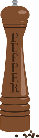 pepper grinder: Spice up your kitchen decor and chefs apparel with this design on kitchen linen, chef coats, apron and hats Illustration