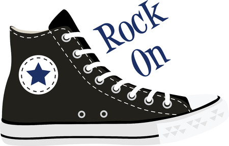 tennis shoe: Rock on the wild side! Stitch this cool  design on shirts, bags, and more for your rock stars.