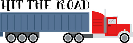tractor trailer: Add to the arsenal of trucks for your vehicle lovers, with this design on t-shirts, kids room decor and more. Illustration