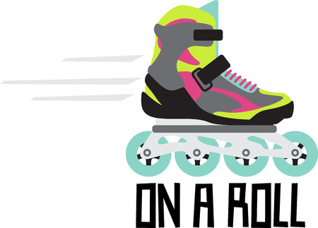 blader: Grab your friends or family and lace up your skates! Take a spin on the rink with this design on clothes, towels, pillows, bags, t-shirts and jackets for your roller blader! Illustration