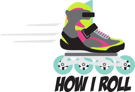 친구들이나 가족을 잡고 스케이트를 타십시오! 롤러 블레이더의 옷, 수건, 베개, 가방, 티셔츠 및 재킷에이 디자인으로 링크를 돌려보세요!