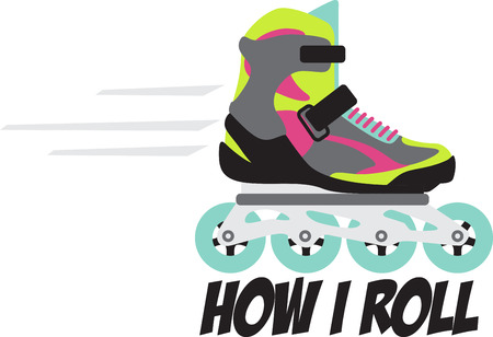 roller blade: Grab your friends or family and lace up your skates! Take a spin on the rink with this design on clothes, towels, pillows, bags, t-shirts and jackets for your roller blader! Illustration