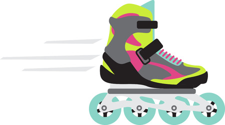 Grab your friends or family and lace up your skates! Take a spin on the rink with this design on clothes, towels, pillows, bags, t-shirts and jackets for your roller blader! Ilustrace