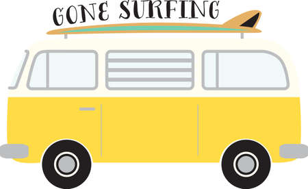 vw: Hit the beach, catch a wave! It is an adventure of tall crashing waves and long surfboards with this design on beach towels, totes and more!