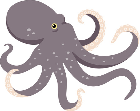 This magnificent octopus is ready to swim onto towels, beach totes, t-shirts, quilts and more. Ilustração