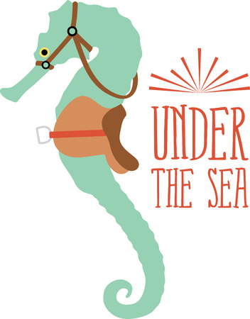 seas: Saddle up for a close encounter with the seas most captivating creatures with this design on your home projects. Illustration