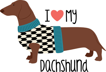 wiener: This design is sure to warm the hearts of dog lovers and will be adorable on sweatshirts, dog jackets, totes and more. Illustration