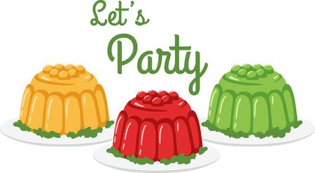 gelatina: Para cualquier persona con un gusto por lo dulce, este es su punto favorito. Del�itese con este dise�o en sus proyectos de interior! Vectores