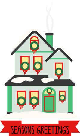 このデザインであなたの休日のプロジェクトのホールとクリスマスのごちそうであなたの家の残りの部分をデッキします。 写真素材 - 46332476