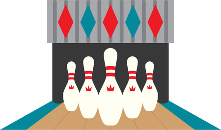 Looking for the perfect Birthday or Christmas gift Embroider this design on clothes, towels, pillows, gym bags, quilts, t-shirts, jackets or wall hangings for your bowling enthusiasts!  イラスト・ベクター素材