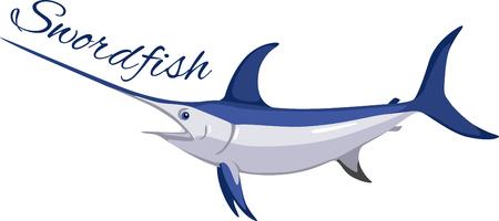 pez vela: Este magnífico pez espada es un diseño de vanguardia para los pescadores, navegantes y amantes del mar y se verá perfecto en la ropa, toallas, bolsas de engranajes, camisetas, chaquetas o tapices. Vectores