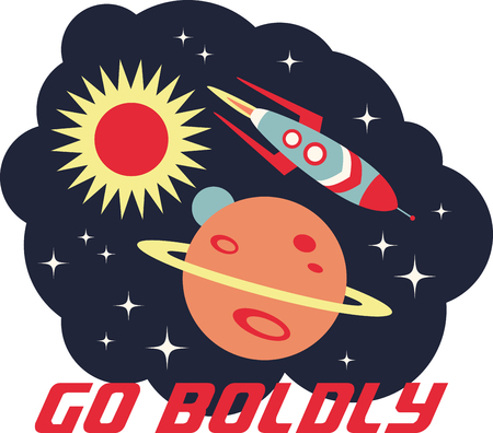 blast off: Up, up and away! Blast off!  This cute little design will be perfect for your little astronaut on t-shirts, hoodies, hats, warm-ups and more!