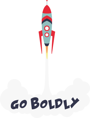 Up, up and away! Blast off!  This cute little design will be perfect for your little astronaut on t-shirts, hoodies, hats, warm-ups and more!