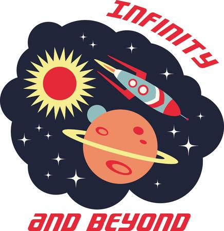 アップ、アップとの距離!爆発! このかわいい小さなデザイン t シャツ、パーカー、帽子、ウォーミング アップであなたの小さな宇宙飛行士を完璧に  イラスト・ベクター素材