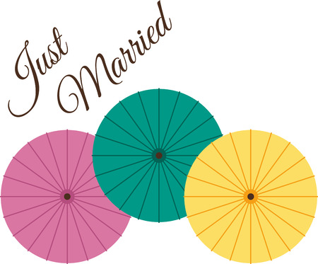brolly: This heartwarming design will make a great keepsake for the newlyweds on framed embroidery, bed covers and personalized gifts. Illustration