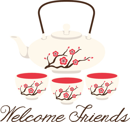 Its not just tea time, its a celebration!  Get this Japanese staple on your home decor and warm up table linen and more with this steamy design!