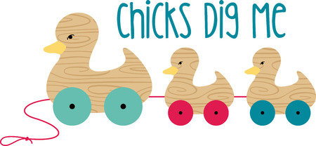 A beautiful addition to your childs bedroom, this wooden duck set is sure to be a family favorite. Ilustracja