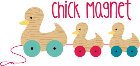 pull toy: Una hermosa adici�n a la habitaci�n de su hijo, este conjunto de pato de madera es seguro que ser� un favorito de la familia. Vectores