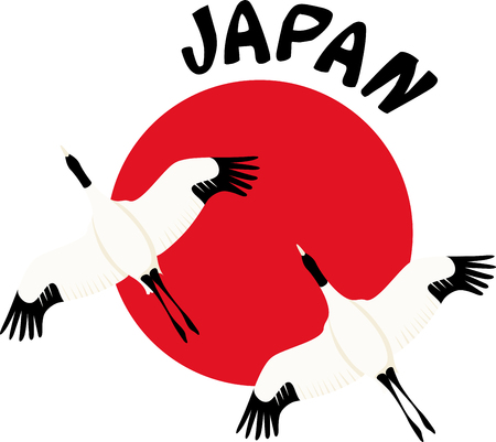 japanese culture: Get the symbol of fidelity, welfare, beauty, longevity and much more in Japanese culture, with this design on clothing, framed embroidery and other projects. Illustration