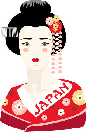This adorable Geisha can add an oriental flavor on quilts, wall hangings, bags, garments, cushions and lots more. Ilustracja