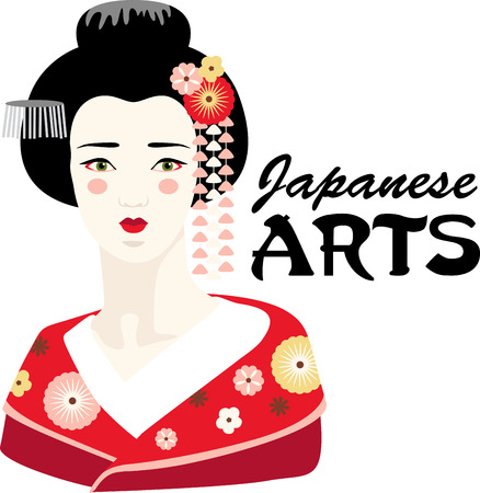 entertainer: This adorable Geisha can add an oriental flavor on quilts, wall hangings, bags, garments, cushions and lots more. Illustration