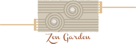 japanese garden: A balance of asymmetry is essential to the Japanese garden!  Relax with this design on framed embroidery, kitchen linen, throw pillows and more. Illustration