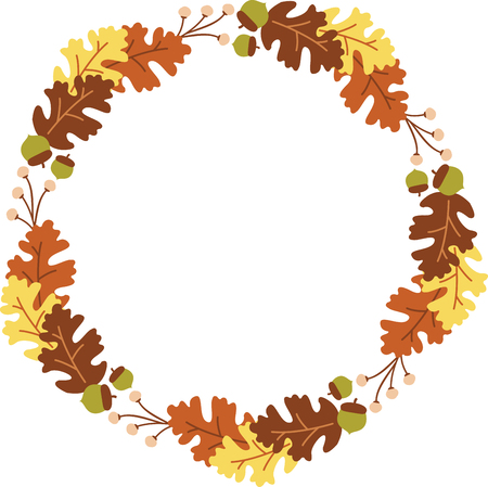 natures: Fall leaves are some of natures showiest treasures and will be make pretty decorations as corners and frames on towels, pillows, sweatshirts and more. Illustration