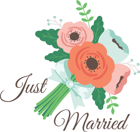 heartwarming: This heartwarming design will make a great keepsake for the newlyweds on framed embroidery, bed covers and personalized gifts. Illustration
