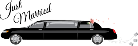 chauffeur: This heartwarming design will make a great keepsake for the newlyweds on framed embroidery, bed covers and personalized gifts. Illustration