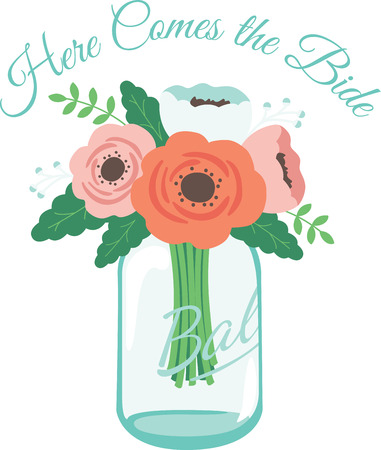 keepsake: This heartwarming design will make a great keepsake for the newlyweds on framed embroidery, bed covers and personalized gifts. Illustration