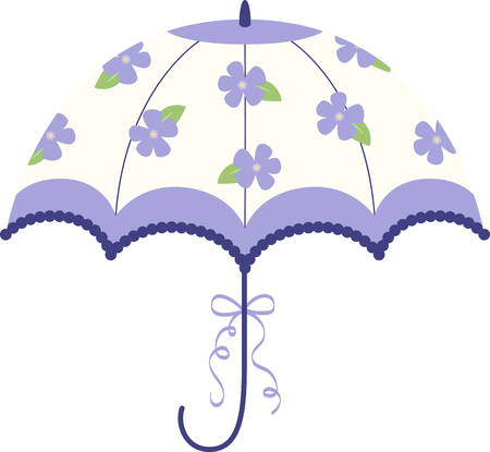 Turn this simple design into a style statement.  This floral umbrella will add sparkle to bridal shower projects.