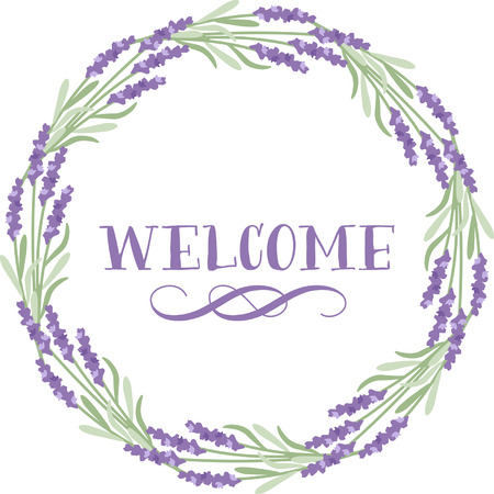 floral border with Welcome word