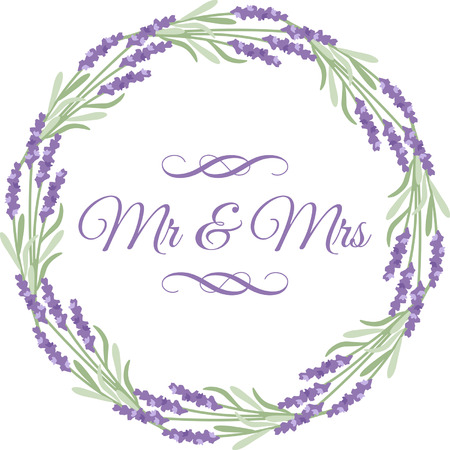 Mr and Mrs text surrounding by floral border