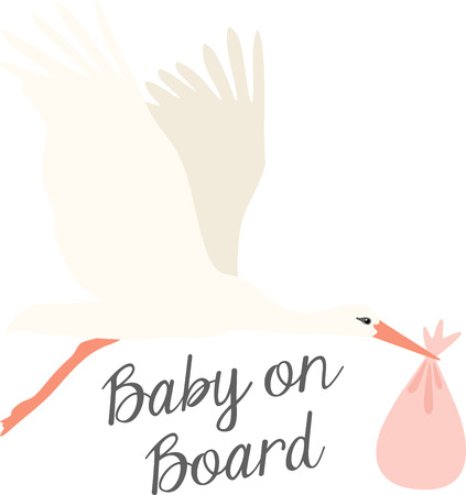 Welcome the new arrival with this classic symbol of bringing home a new baby! This design is perfect on baby shower decorations, gift baskets and more.