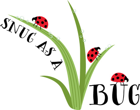 grass blades: Ladybug lovers will enjoy this versatile and fun design that offers endless possibilities on any project. Illustration