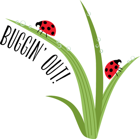 blades of grass: Ladybug lovers will enjoy this versatile and fun design that offers endless possibilities on any project. Illustration
