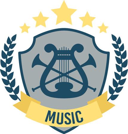 Ascoltare la musica piede intercettazioni. Questo passo musica perfetta scudo emblema sarà grande su progetti per la vostra amante della musica! Archivio Fotografico - 51675152
