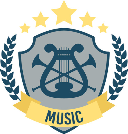 escutcheon: Listen to foot tapping music.  This pitch perfect music shield emblem will be great on projects for your music lover!