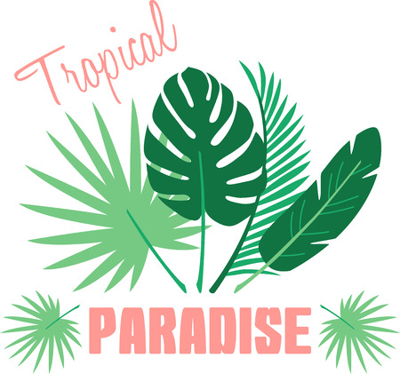 Update your interiors with this elegant and cozy tropical themed palm frond design on bedspreads, throw pillows, framed embroidery and more. Illustration