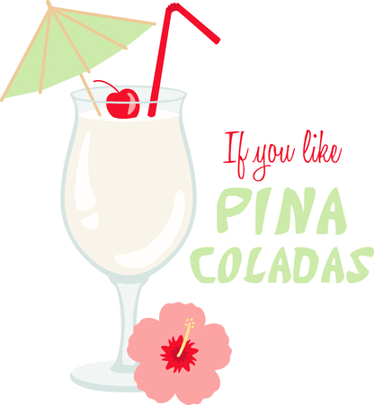pina colada: Bring the spirit of the sea, the salty breezes and sandy toes with this design on clothing, beach towels, totes and more. Illustration
