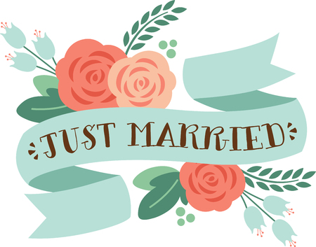 This heartwarming design will make a great keepsake for the newlyweds on framed embroidery, bed covers and personalized gifts. Illustration