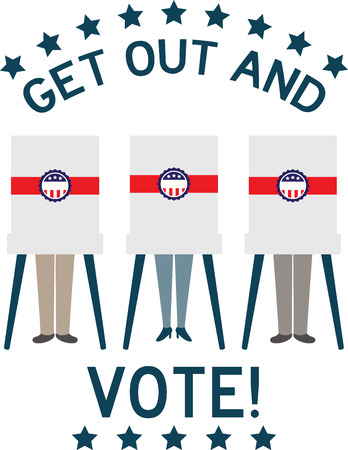 Display your responsibility to spread the word about democracy and the importance of voting, with pride, with this design on bags, banners, t-shirts and more.