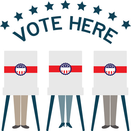 voting booth: Display your responsibility to spread the word about democracy and the importance of voting, with pride, with this design on bags, banners, t-shirts and more.