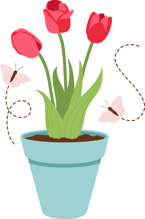 Theres no better way to celebrate spring and to add some color into your home.  Make a perfect gift every time with this tulip design on clothes, household linen and more. Illustration