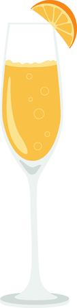 어떤 맛있는 미모사 칵테일의 멋진 디자인! 이것은 주방 앞치마 또는 바 수건에 좋은 것입니다. 스톡 콘텐츠 - 53239224