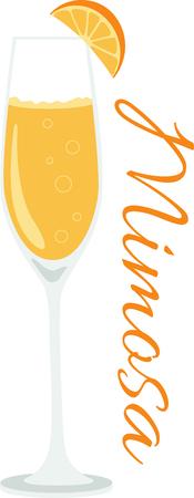 Lo que es un diseño fresco de un delicioso cóctel mimosa! Esto sería grande en un delantal de cocina o una toalla bar. Ilustración de vector