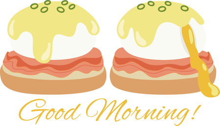 どのようなエッグベネディクトのクールなデザイン! これはキッチン エプロンやランチョン マットは素晴らしいことです。 写真素材 - 53239236