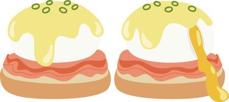どのようなエッグベネディクトのクールなデザイン! これはキッチン エプロンやランチョン マットは素晴らしいことです。  イラスト・ベクター素材
